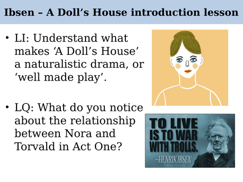 A Doll's House Henrik Ibsen A Level English Literature introduction