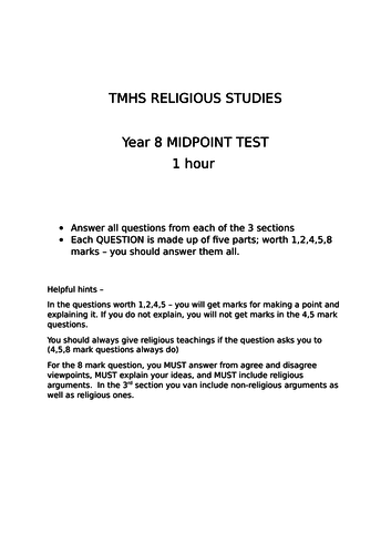 KS3 assessment based loosely on the new AQA GCSE includes Buddhism, Sikhi and afterlife