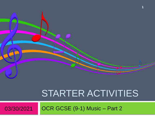 OCR GCSE (9-1) Music Listening Starters Part 2