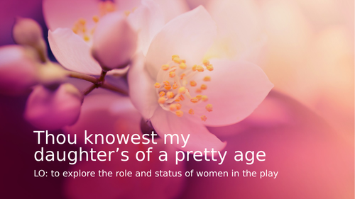 Romeo and Juliet: the role and status of women
