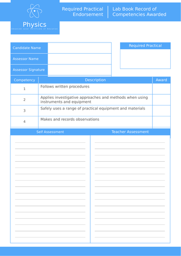 AQA A-Level GCE Physics | Required Practical Endorsement | Lab Book Record of Competencies Awarded