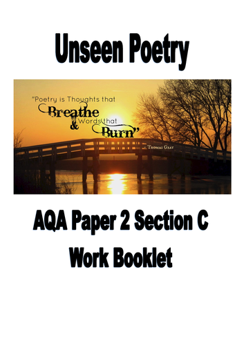 Unseen poetry revision/teaching booklet