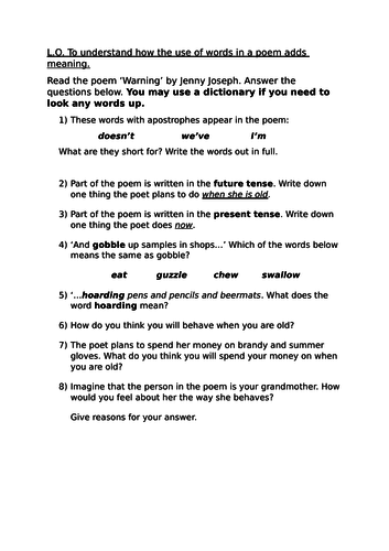 Warning poem - Jenny Joseph - 3 differentiated reading questions sheets
