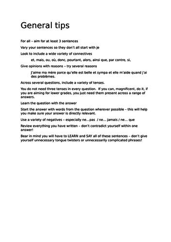 AQA GCSE French General Conversation Theme 1 preparation booklet