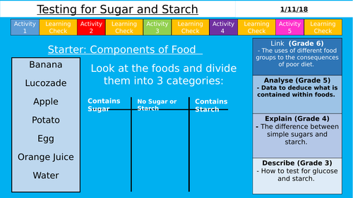 AQA (9-1) GCSE - Testing for Starch and Sugar (Organisation)