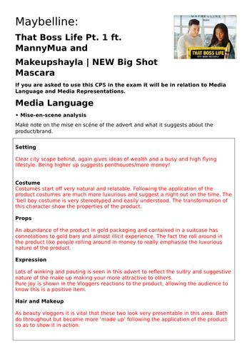 AQA AS Media CSP - Maybelline Booklet