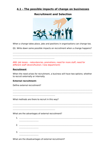 Unit 15 Cambridge Technicals Level 3 in Business-Topic 4.1 - Impacts of change on Recruitment