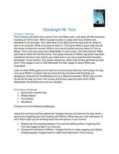 Goodnight Mr Tom KS2/3 Challenging Activities to provide writing evidence