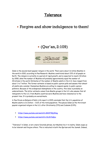 OCR A2 ISLAM toleracnce printable booklet