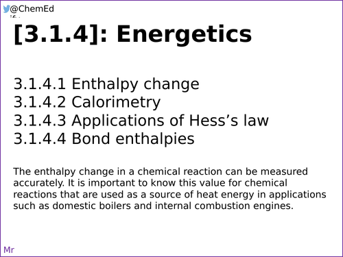 AQA A-Level Chemistry [3.1.4] Energetics [New Specification (2016-)]
