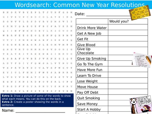 New Year Resolutions Wordsearch Sheet Keywords KS3 Settler