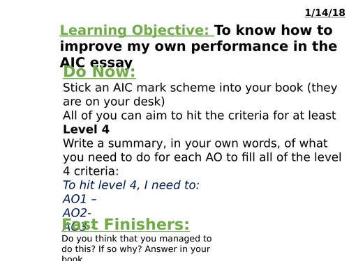 An Inspector Calls AQA Lit 2017 How to Tackle The Question / Revision materials