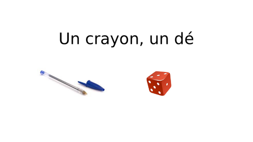Un crayon, un dé (One pen, one dice) Translation game with rules Les Vacances New GCSE