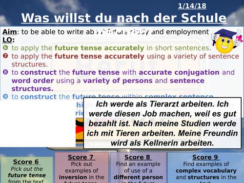 Was willst du nach der Schule machen? Observation standard. New spec AQA GCSE German.