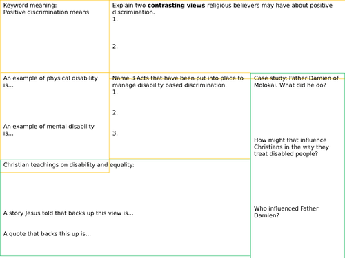 Lesson 4 AQA GCSE religious education disability Religion,  human rights and social justice