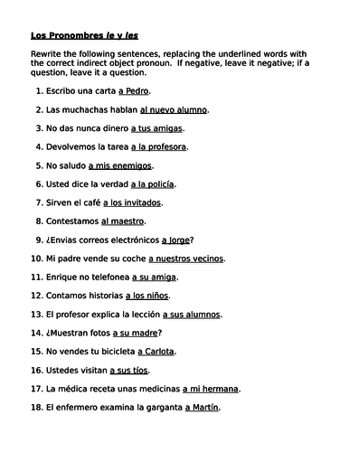 Indirect object pronouns in Spanish Worksheet