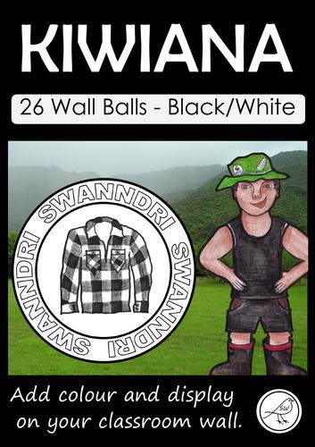 Kiwiana – Wall Balls – Black and White