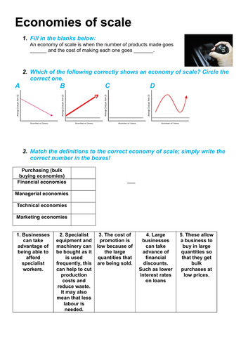 Economies of Scale Worksheets
