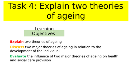 Unit 4 Development Through the life stages- Theories of Ageing