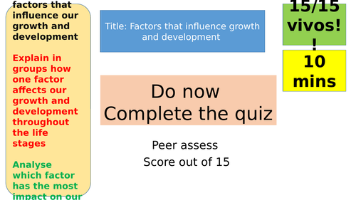 GCSE HEALTH AND SOCIAL CARE- FACTORS THAT INFLUENCE GROWTH AND DEVELOPMENT