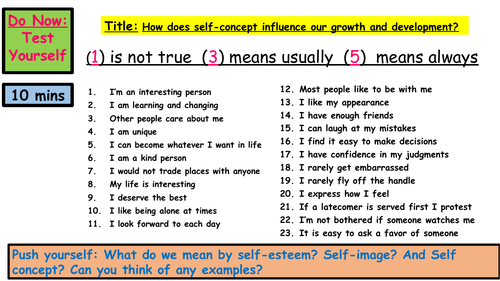 GCSE HEALTH AND SOCIAL CARE- SELF-CONCEPT