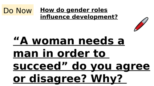 GCSE HEALTH AND SOCIAL CARE- THE ROLE OF GENDER