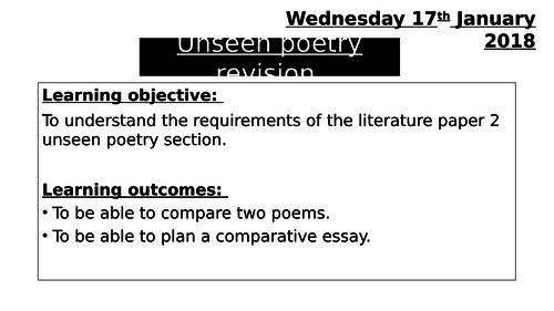 Edexcel Literature - Unseen Poetry revision lesson