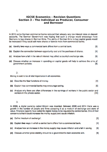 IGCSE Economics - Sections 3, 4 and 5 Revision questions by
