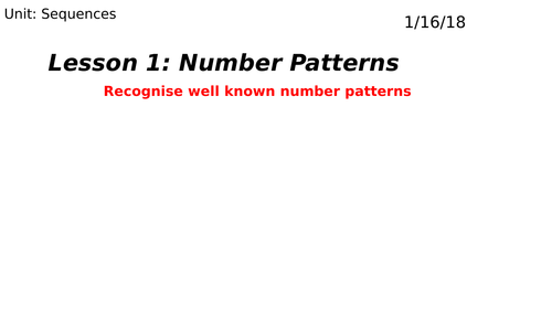 Number Patterns: Special Sequences