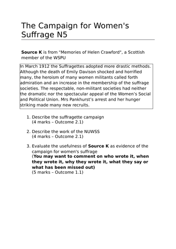 Scotland and the Great War: Campaigns for Women's Suffrage (Lesson 11)
