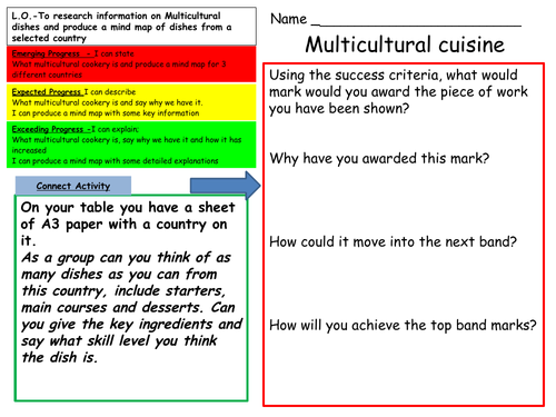Multicultural cookery year 9