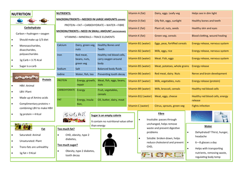 NUTRITION - REVISION AID - KNOWLEDGE ORGANISER