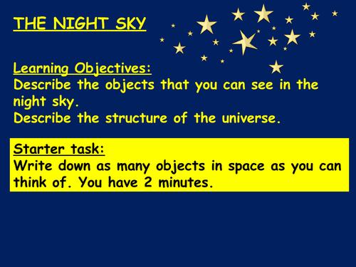 The night sky KS3
