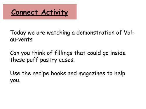 Vol au vent powerpoint with recipe, set out as a four part lesson