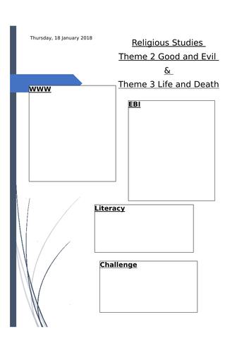 EDUQAS 9-1 Religious Studies Topic 2 and 3 exam