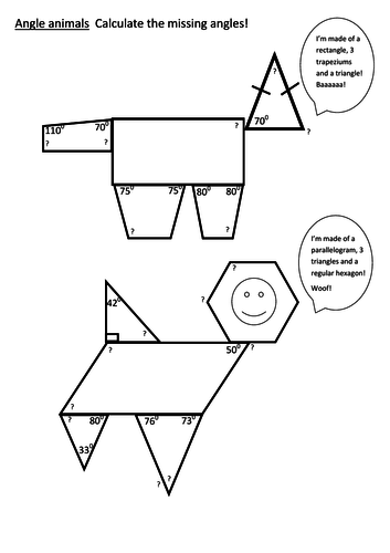 Angle animals - angles in polygons worksheet