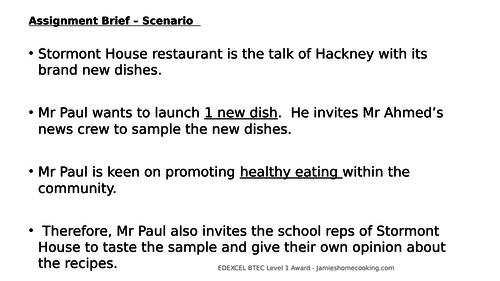 Updated BTEC Level 1 Jamie Oliver Home Cooking Skills Assignment