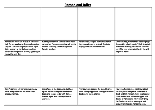 Romeo and Juliet Comic Strip and Storyboard