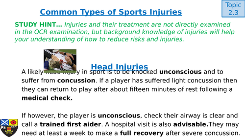 GCSE PE OCR - 2.3 Preventing Injury in Physical Activity and Training