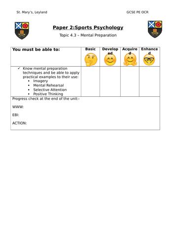 GCSE PE OCR - 4.3 Mental Preperation