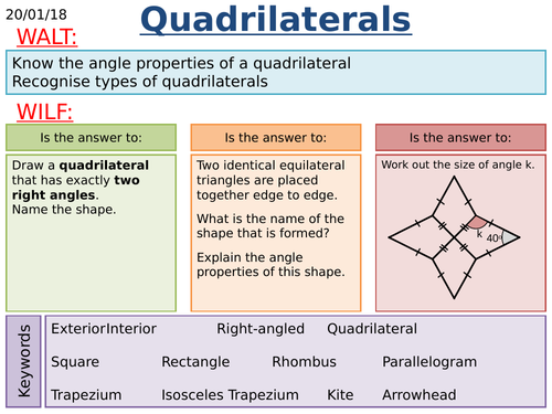 Classifying Quadrilaterals Flow Chart Labelling By Maths Tiger