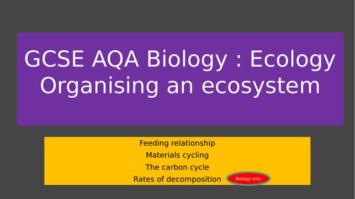 GCSE AQA Ecology: Organising an ecosystem