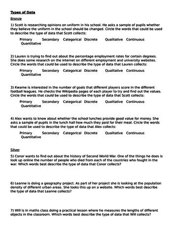 Types of Data Worksheet