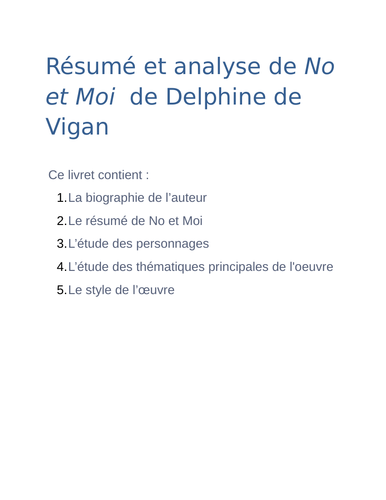 No et Moi: Summary, Analysis and Reading Guide