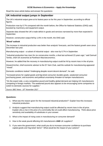 Economics worksheets