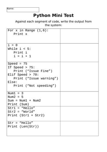 Python Mini Test