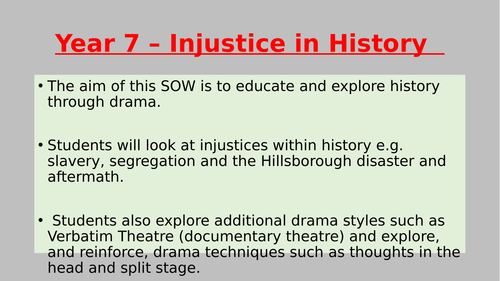 KS3 Drama SOW - Injustice *fully resourced*