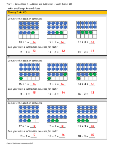 Year 1 - Spring block 1 - Addition and Subtraction - Related facts (week 4)