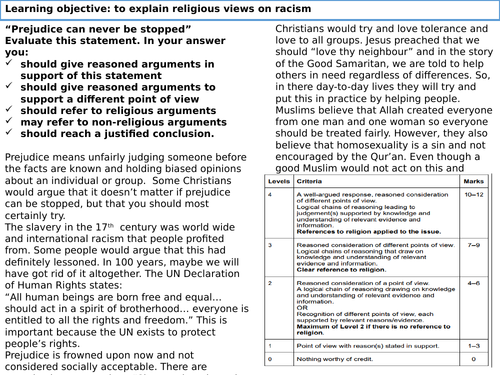 lesson 5 racism theme f religion, human rights and social justice gcse aqa
