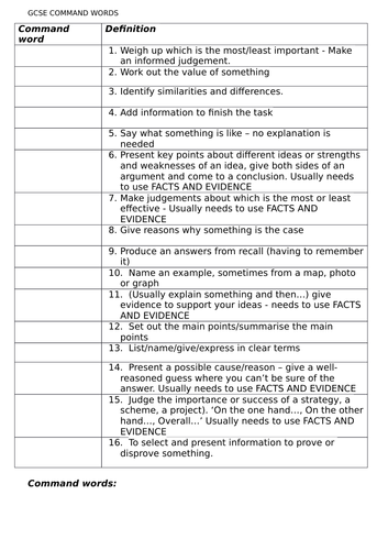 AQA Geography command word definition and example match up
